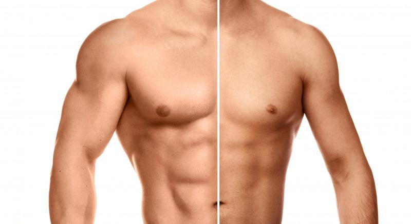 細マッチョの腹筋とガリガリの腹筋を比較する写真